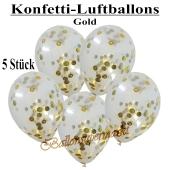 Konfetti-Luftballons 30 cm, Kristall, Transparent mit goldenem Konfetti gefüllt, 5 Stück