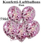Konfetti-Luftballons 30 cm, Kristall, Transparent mit pinkfarbenem Konfetti gefüllt, 5 Stück