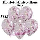 Konfetti-Luftballons 30 cm, Kristall, Transparent mit rosafarbenem Konfetti gefüllt, 5 Stück