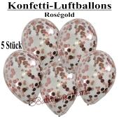 Konfetti-Luftballons 30 cm, Kristall, Transparent mit roségoldenem Konfetti gefüllt, 5 Stück