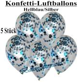 Konfetti-Luftballons 30 cm, Kristall, Transparent mit hellblauem und silbernem Konfetti gefüllt, 5 Stück