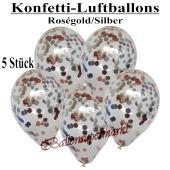 Konfetti-Luftballons 30 cm, Kristall, Transparent mit roségoldenem und silbernem Konfetti gefüllt, 5 Stück