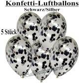 Konfetti-Luftballons 30 cm, Kristall, Transparent mit schwarzem und silbernem Konfetti gefüllt, 5 Stück