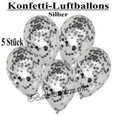 Konfetti-Luftballons 30 cm, Kristall, Transparent mit silbernem Konfetti gefüllt, 5 Stück