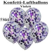 Konfetti-Luftballons 30 cm, Kristall, Transparent mit violettem Konfetti gefüllt, 5 Stück