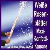 Konfettikanone Weiße Rosenblätter Maxi