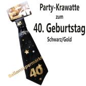 Party-Krawatte zum 40. Geburtstag, Schwarz/Gold