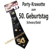 Party-Krawatte zum 50. Geburtstag, Schwarz/Gold