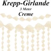 Krepp-Girlande Creme, 3 Meter
