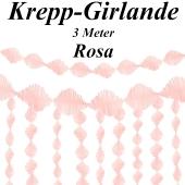 Krepp-Girlande Rosa, 3 Meter