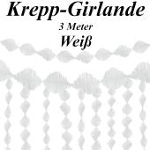Krepp-Girlande Weiß, 3 Meter