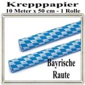 Krepppapier Bayrische Raute Dekoration, 1 Rolle, 10 Meter x 50 cm, schwer entflammbar