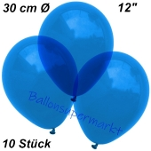Luftballons Kristall, 30 cm, Blau, 10 Stück