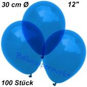 Luftballons Kristall, 30 cm, Blau, 100 Stück