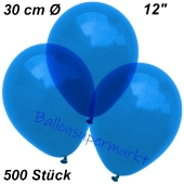 Luftballons Kristall, 30 cm, Blau, 500 Stück