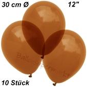 Luftballons Kristall, 30 cm, Braun, 10 Stück