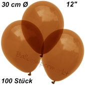 Luftballons Kristall, 30 cm, Braun, 100 Stück