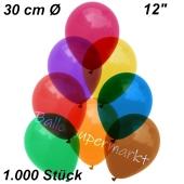 Luftballons Kristall, 30 cm, Bunt gemischt, 1000 Stück