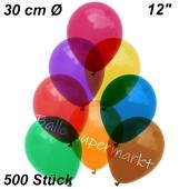 Luftballons Kristall, 30 cm, Bunt gemischt, 500 Stück
