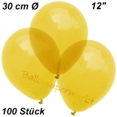 Luftballons Kristall, 30 cm, Gelb, 100 Stück