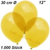 Luftballons Kristall, 30 cm, Gelb, 1000 Stück