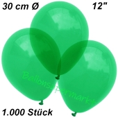 Luftballons Kristall, 30 cm, Grün, 1000 Stück