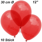 Luftballons Kristall, 30 cm, Hellrot, 10 Stück
