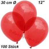 Luftballons Kristall, 30 cm, Hellrot, 100 Stück