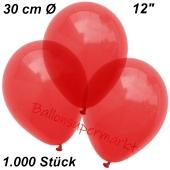 Luftballons Kristall, 30 cm, Hellrot, 1000 Stück
