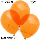 Luftballons Kristall, 30 cm, Orange, 100 Stück