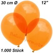 Luftballons Kristall, 30 cm, Orange, 1000 Stück