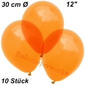 Luftballons Kristall, 30 cm, Orange, 10 Stück