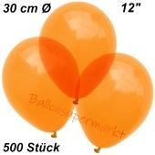 Luftballons Kristall, 30 cm, Orange, 500 Stück