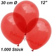 Luftballons Kristall, 30 cm, Rot, 1000 Stück