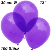 Luftballons Kristall, 30 cm, Violett, 100 Stück
