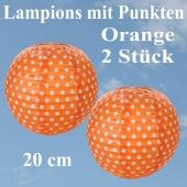 2er Set Lampions 20 cm, Orange mit weißen Punkten