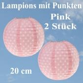 2er Set Lampions 20 cm, Pink mit weißen Punkten