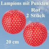 2er Set Lampions 20 cm, Rot mit weißen Punkten
