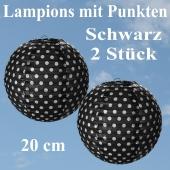2er Set Lampions 20 cm, Schwarz mit weißen Punkten