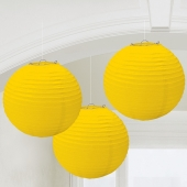 Lampion-Set Gelb, 3 Stueck, Dekoration
