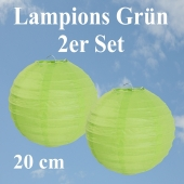 Lampions Grün, 20 cm, 2er Set