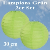 Lampions Grün, 30 cm, 2er Set