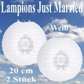 2er Set Lampions 20 cm, Just Married