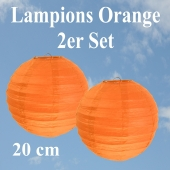 Lampions Orange, 20 cm, 2er Set