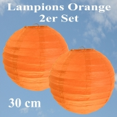Lampions Orange, 30 cm, 2er Set