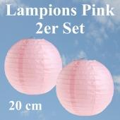 Lampions Pink, 20 cm, 2er Set