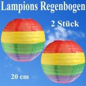 2er Set Lampions 20 cm, Regenbogenfarben