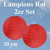 Lampions Rot, 20 cm, 2er Set