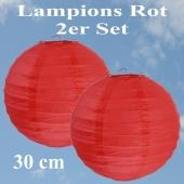 Lampions Rot, 30 cm, 2er Set