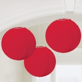 Lampion-Set Rot, 3 Stueck, Dekoration